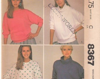 1983 - McCalls 8367 Vintage Sewing Pattern Size Petite 6/8 Bust 30 1/2 to 31 1/2 Easy Stretch Knit Tops Pullover Drop Shoulders Cowl