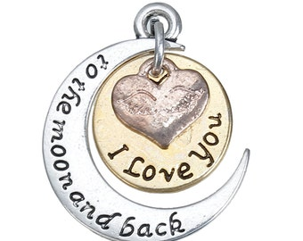 I Love You To The Moon and Back - Antique Silver and Rose Gold - 25x21mm - 2 Sets - Ships IMMEDIATELY from California - SC1332