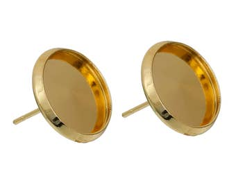 30 Cabochon Earrings - WHOLESALE - Holds 12mm - 14x13mm - COPPER Material - Gold Earring Posts - Ships IMMEDIATELY from California - EF102a