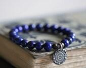 ON SALE Lapis Lazuli Bracelet, 8mm Beads, Indigo, Sterling Silver Charm, Bali Charm, Stack Bracelet, Beaded, Stretch Bracelet, Boho, Rustic