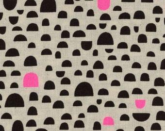 KOKKA Saaristo Canvas by Ellen Luckett Baker - Rough Cut Pebbles - Black/Neon Pink