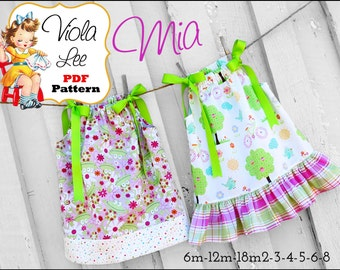 Pillowcase Dress Pattern. Girls Dress Patterns. Girls Sewing Patterns. Toddler Dress Patterns. pdf sewing pattern. Infant Dress Pattern. Mia