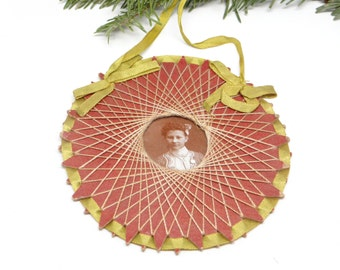 Early 1900's Antique Photograph in Thread Folk Art Frame, Christmas Ornament with Satin Ribbon