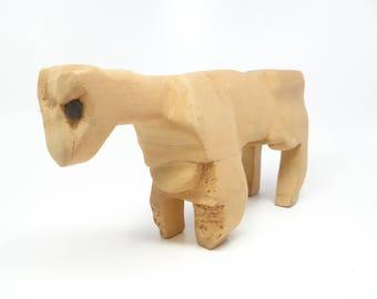 Vintage Folk Art Primitive Cow Wood Carving, Signed by Artist