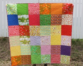 Modern Homemade Quilt for Sale, Homemade quilt, Briar Rose Lap Quilt, Child's Quilt, Rainbow Color Quilt, Gift for Her, Kids' room decor,