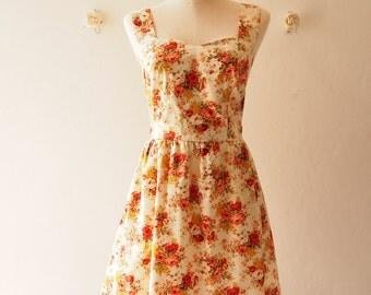 Summer Dress Vintage Inspired Sundress Romantic Rustic Wedding Tangerine Rose Dress Shoulder Straps Design - Once Upon A Time