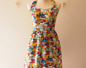 Summer Dress Snoopy n Friends in Blue Cute SunDress Kawaii Halter Dress Sweetheart Bust Line  Retro Vintage Bridesmaid Dress, custom