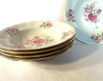 Favolina China Bowls, Set of 5, Pink and Purple Roses