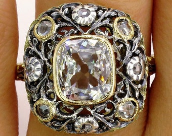Reserved..Revived Rococo...GIA 1.37ct Antique Vintage Old Mine Cushion DIAMOND 18K Ring, Italy 1935