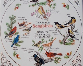 Canadian Songbirds Trivet Hot Plate  Sparrow Robin Oriole Cardinal Wren Starling and moreMarked Giftcraft  FM
