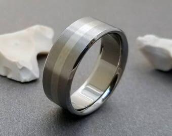 White Gold and Titanium Ring, 18k White Gold, Mens Titanium Ring, Womens Band, Engagement Ring, Gold Band, Flat Profile Ring