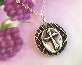Cross, Necklace, Silver, Sterling Silver, Pendant, Layered, Round