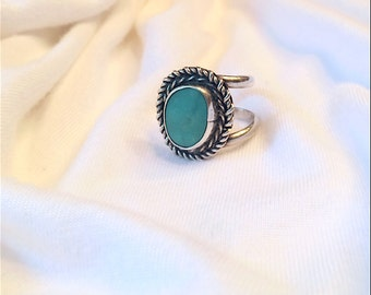 Turquoise and Sterling 1950s Adjustable Ring