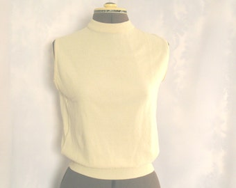 Vintage Ilene Ricky beige sleeveless sweater, 1960's nylon sweater vest