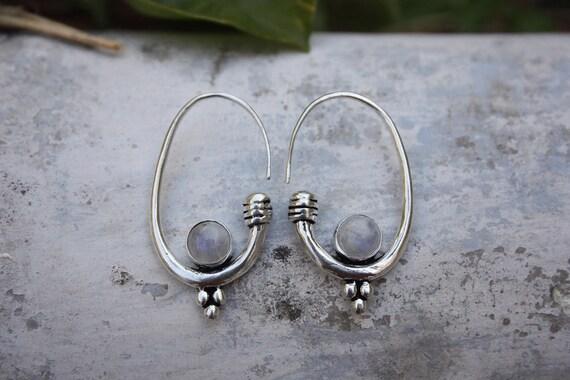 MOONSTONE HOOK EARRING -Silver Earrings- Moonstone - Healing Crystal Jewellery- Chakra Earrings- Boho- Vintage - Festival