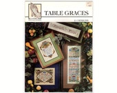 Table Graces 11 Designs, 1996 Cross Stitch Pattern Book by Praying Hands, Religious Counted Cross Stitch Pattern Chart Book