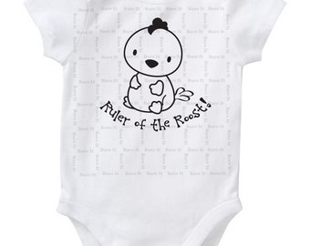 Baby Rooster Ruler of the Roost Baby Humor Funny Chinese New Year/Zodiac Inspired Onesie/Bodysuit Size 3, 6, 12, 18, 24 Months Color White