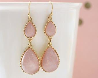 Blush Rose Pink Tear Drop Earrings, Bridal Blush Earrings, Bridesmaid Earrings,  Blush Rose Pink Earrings, Tear Drop Earrings-2022