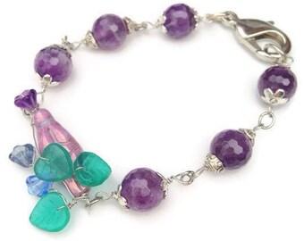 Amethyst Fertility  Bracelet, Goddess Bracelet Wire wrapped with Czech beads Fertility Jewelry Handmade by Lyrisgems