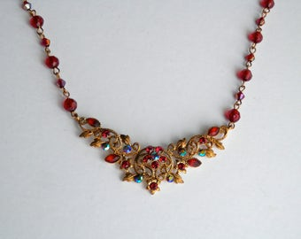 Vintage necklace, Red Gem Stones, Floral Gold Tone Base, Pin-Up, Antique Jewellery