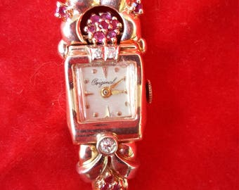 Marvelous Fantabulous Art Deco 14K Solid Rose Gold Rubies Diamonds Swiss Watch Just Serviced Shop Now for Birthdays Graduation Anniversaries