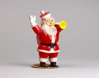 Rosbro Trumpet Santa, Santa With Horn on E Rosen Candy Label, Hard Plastic  made in Providence RI