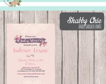 Printable Shabby Chic Baby Shower Invitation