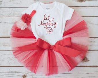 """Lovebug Valentines Day outfit """"Lovebug"""" girls valentines day outfit tutu set baby girl valentines day outfit first valentines day outfit"""