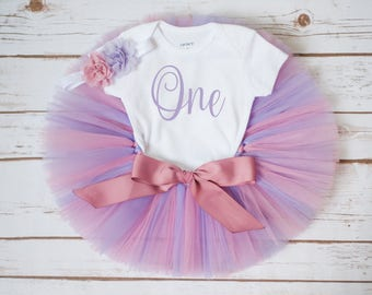 Tea party birthday outfit 'Teagan' rose pink and lavender birthday outfit, tea party outfit, first birthday tutu outfit, first birthday girl