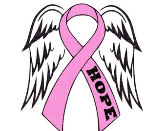 SVG - Pink Ribbon and Wings - Cause Ribbon and Wings - Angel Wings - Breast Cancer Awareness - Hope - Cancer Cause Ribbon and Wings