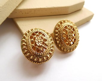Retro 1928 Victorian Style Gold Tone Lattice Filigree Dome Clip On Earrings P21