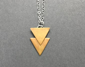 Modern Triangle Sterling Silver Necklace that has a Minimalist Geometric Design Artisan Handmade Fashion