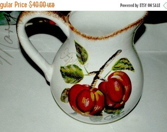 on sale apple pitcher  4 quart   ceramic big and    bold heavy  show stopper   vase, table display