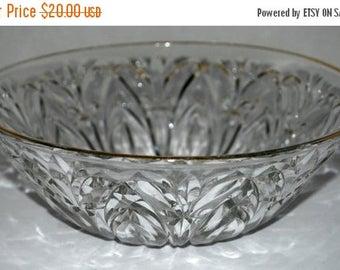 on sale cut glass bowl vintage glass bowl gold rim