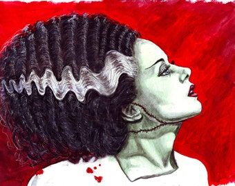 Bride of Frankenstein watercolor painting 15x20 Elsa Lanchester