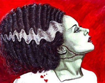 Bride of Frankenstein print of original watercolor painting 8x10