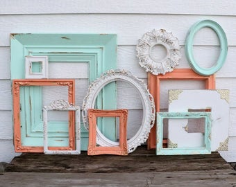 Set of 11 Open Frames - Mint, Coral, White - Wall Gallery - Nursery - Gold Wedding - Vintage Frames -Frame Set -Scatter Frames - Oval Frames