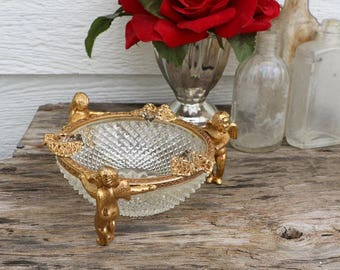Antique Ashtray - Gold and Crystal Vintage Ash Tray - Cherub Ashtray - Brass, Glass, Crystal - Hollywood Regency - Gold Decor - Collectable