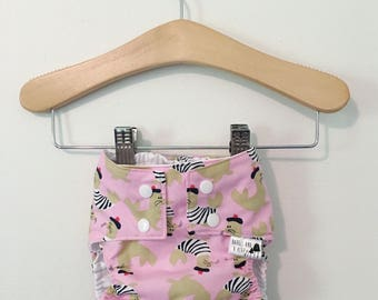 Pink French Seals PUL Lined Water Resistant Diaper Cover Available in Small, Medium, and Large
