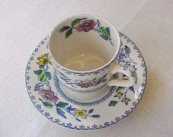 """Charming Antique Wedgwood """"Davenport"""" Demitasse Cup and Saucer"""