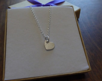 Small Plain Silver Heart Pendant Necklace, Satin