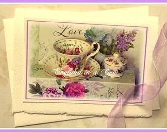 April Teacup Greeting Card, Tea Card, Birthday Card, Mother's Day Card, Tea Invitation, Thank You Card, Teaparty, Sweet Peas, Tea Card, Tea