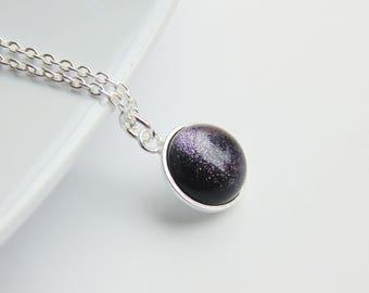 Sparkly dark blue bluestone gemstone small circle sterling silver charm pendant necklace