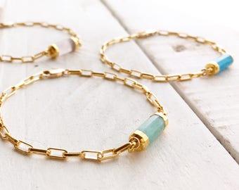 Gold Gem Bracelet, Gold Gemstone Bracelet, Gemstone Bracelet, Gemstone Bar Bracelet, Delicate Bar Gem Bracelet, Everyday Wear Jewelry