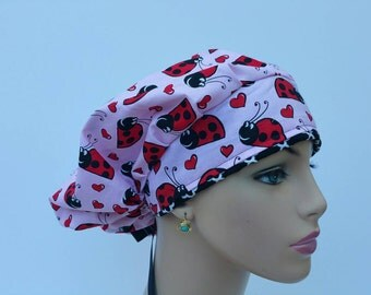 Bouffant Cap/Medical Scrub Cap - Lady Bug - Chevron Rim