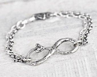 Love Beyond Infinity Bracelet - Infinity Jewelry - Heart Bracelet  -Romantic Bracelet - B486