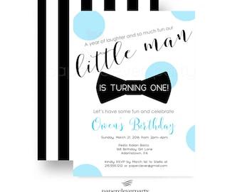 Neat Bow Tie Birthday Party Invitation , Little Man , First Celebration , Cake Smash , Black Stripe , Party Printable or Printed Invites