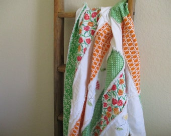 Rag Quilt in Pretty Spring Colors, FREE SHIPPING, Handmade Quilt, Blanket, Bedding, Rag Quilt, Throw, Tangerine, Pink, Green, White