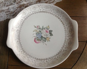 Pretty Salmen Coronet Shabby Handled Cake Plate with 23 K Gold Filigree and Pink Floral Bouquet