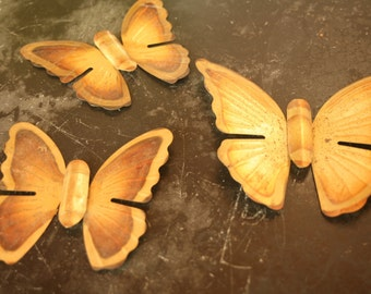 Set of Three Vintage Brass Butterfly Wall Hangings, Home Decor, Retro, Mid Century Modern, Butterfly, Summer